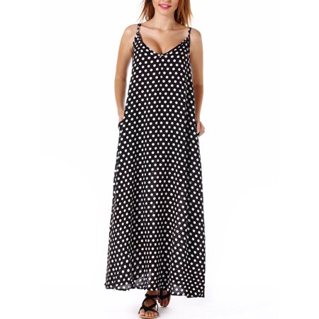 SAYFUT Plus Size Women's Sundresses Spaghetti Strap Polka Dot Dress Sleeveless V-Neckline Backless Beach Swimwear Long