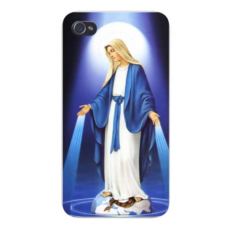 Apple Iphone Custom Case 4 4s Plastic Snap on - St. Mary Mother of Jesus Standing on Serpent