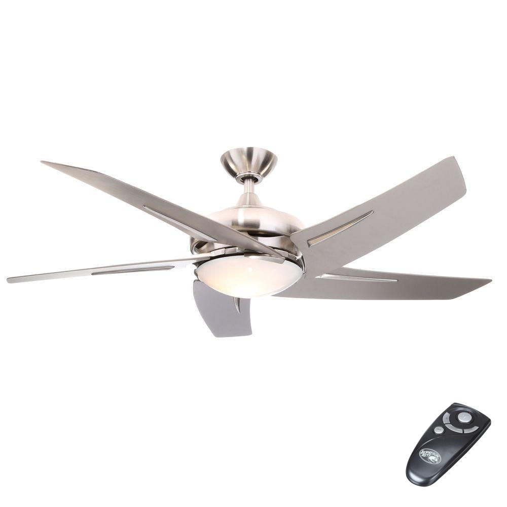 Hampton bay sidewinder 54 indoor brushed nickel ceiling fan w light remote