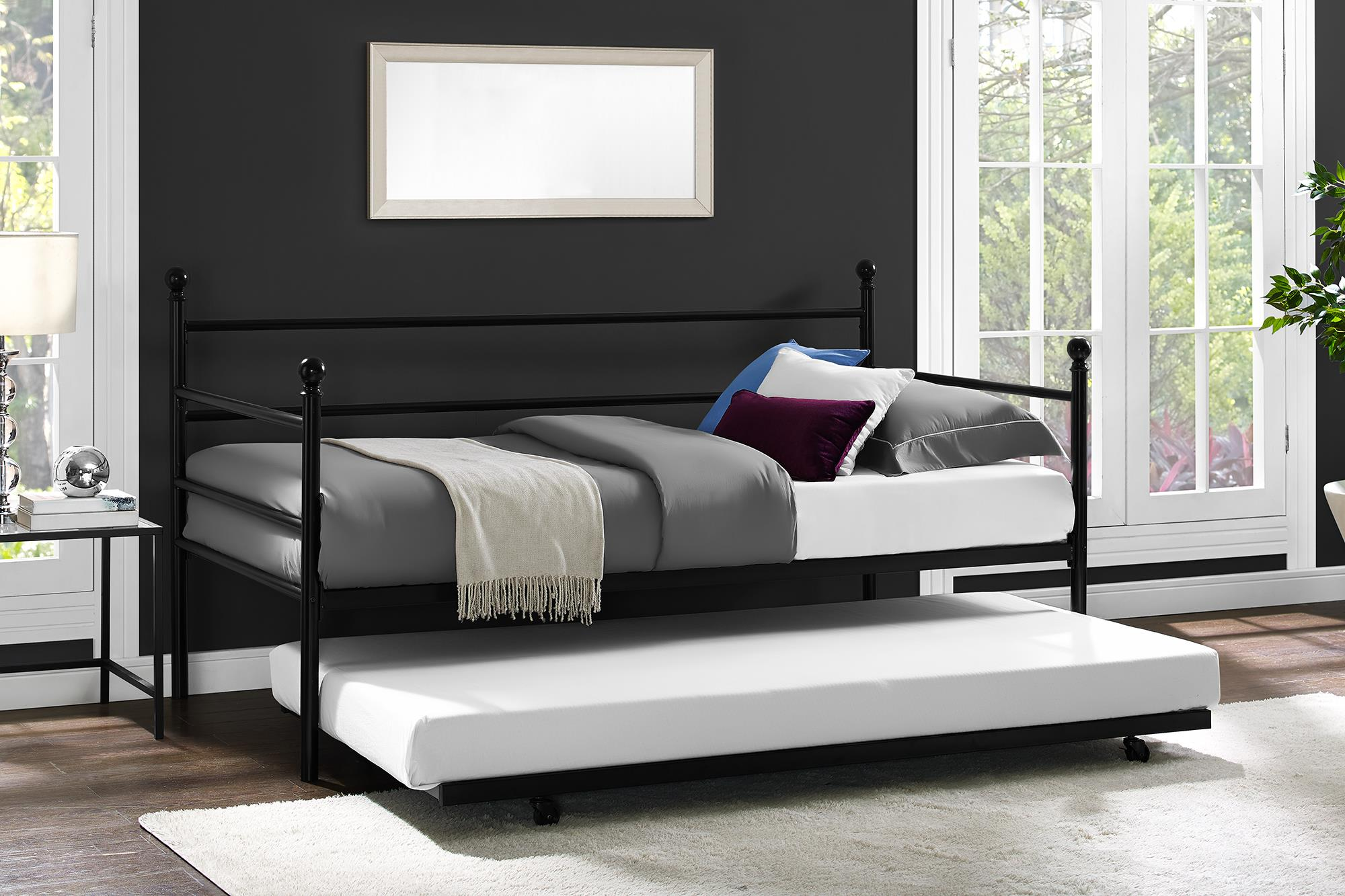 Daybed with trundle twin size metal frame bed space saving - Bed frames for small rooms ...