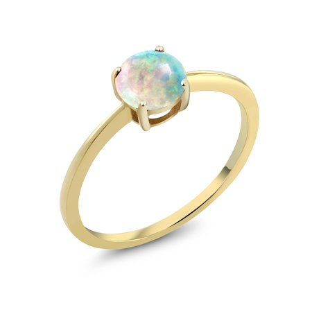 10K Yellow Gold 1.00 Ct Round Cabochon White Simulated Opal Solitaire Ring