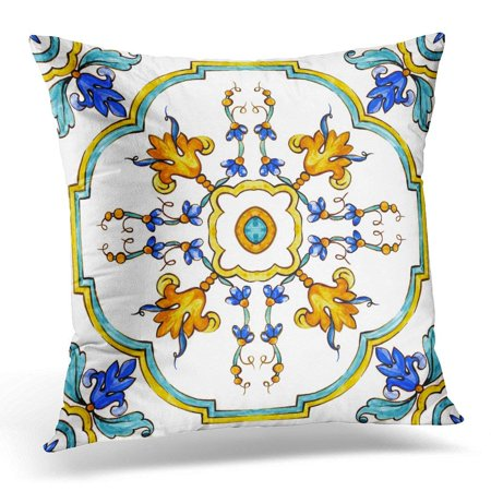 ARHOME Blue Ornaments on Italian Tiles Majolica Cyan Outline Green Arabic Pillow Case Pillow Cover 20x20