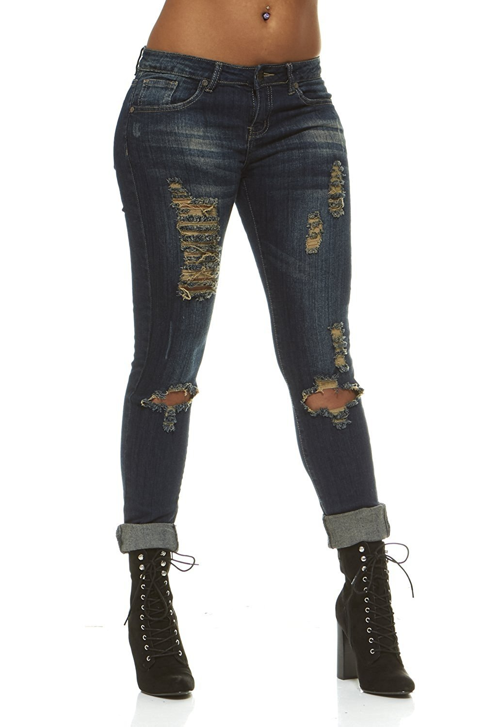 Cover Girl Women's Ripped Torn Distressed Repaired Patched Slim Fray Skinny, Blue, 7/8