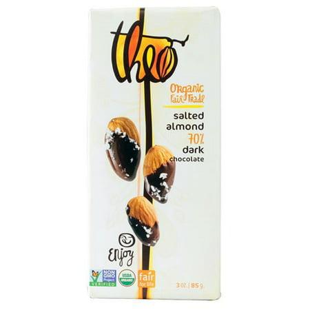 Theo Chocolate Organic 70% Dark Chocolate Bar Salted Almond 3