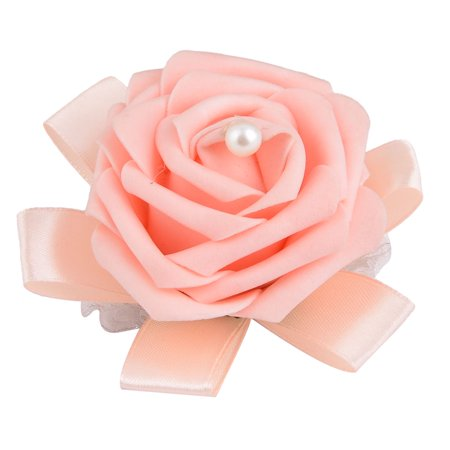 Unique Bargains Foam Rose Design Bridesmaid Hand Decorative Artificial Wrist Flower Light Pink - image 3 de 3