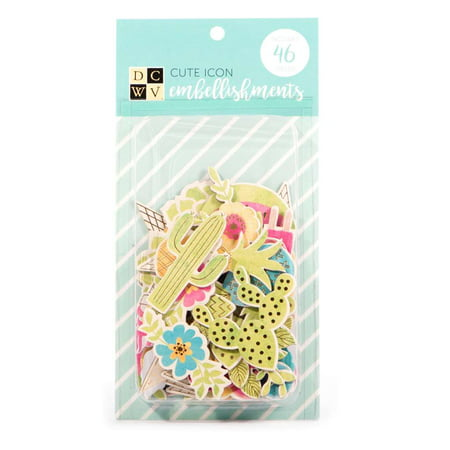American Crafts DCWV Cute Icon Embellishments - Scrapbooking Accessory and Decoration - Assorted Shapes and Patterns, 46 Pieces