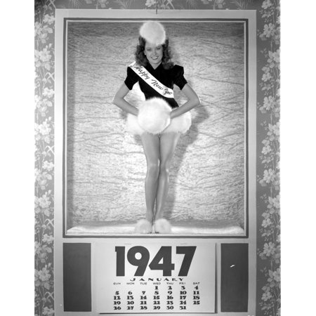 Photo Holding Ball - Carol Forman in Sash Holding a Furry Ball Photo Print