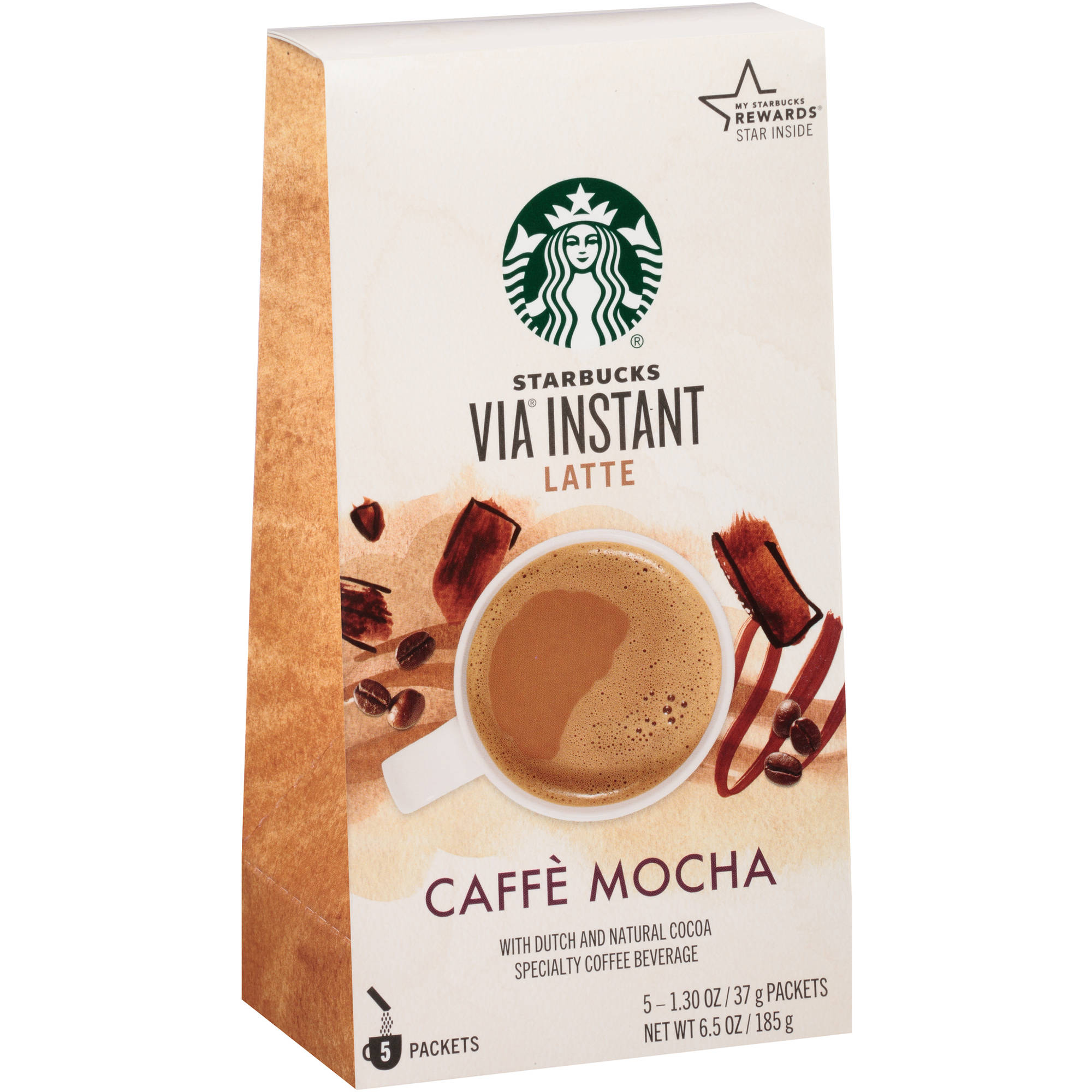 Starbucks VIA Latte Caffe Mocha Specialty Coffee Beverage, 5 ct, 6.53 oz