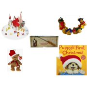 Christmas Fun Gift Bundle [5 Piece] - Olive, the Other Reindeer Pop-Up Advent Calendar - String of Gingerbread  w/ Wood Stars & Hearts 4.5' Feet  - Debbie Mumm Button Santa Candle Snuffer - Ty Beani