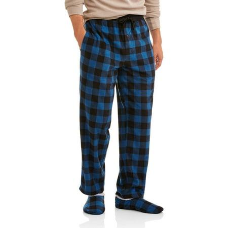Big And Tall Plaid Robe - Big Men's microfleece sleep pants and slippers set, 2XL