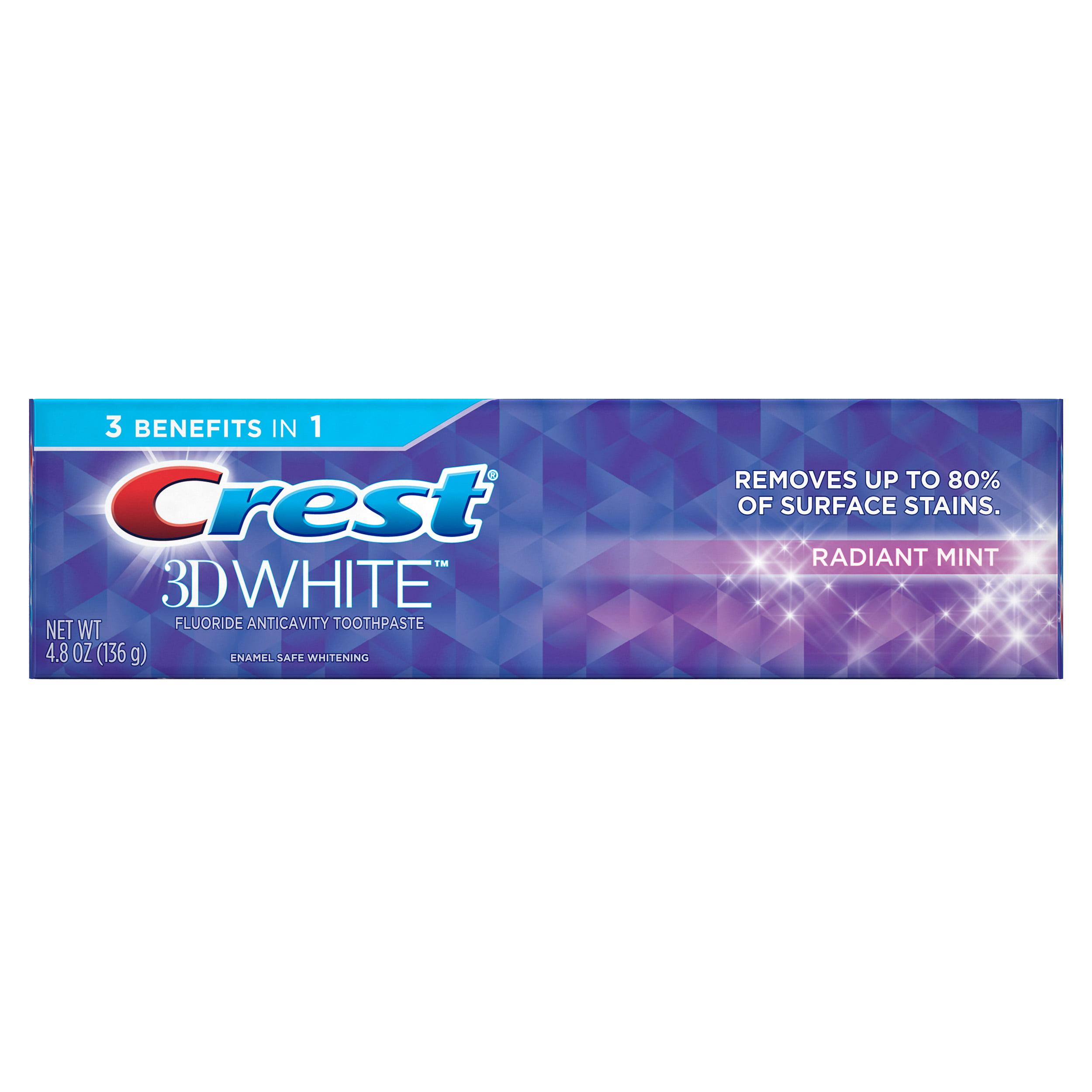 Crest 3d White Whitening Toothpaste Radiant Mint 4 8 Oz