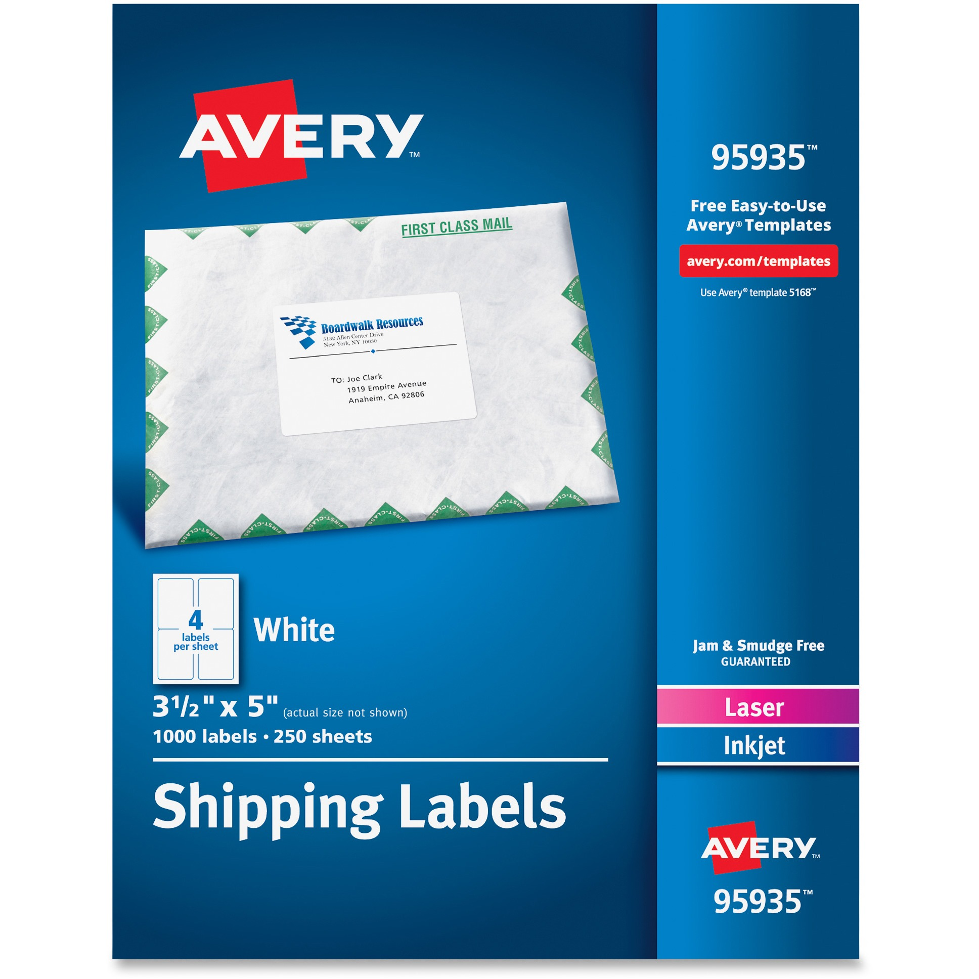 Avery White Shipping Labels, Inkjet/Laser, 3 1/2 x 5, White, 1000/Box