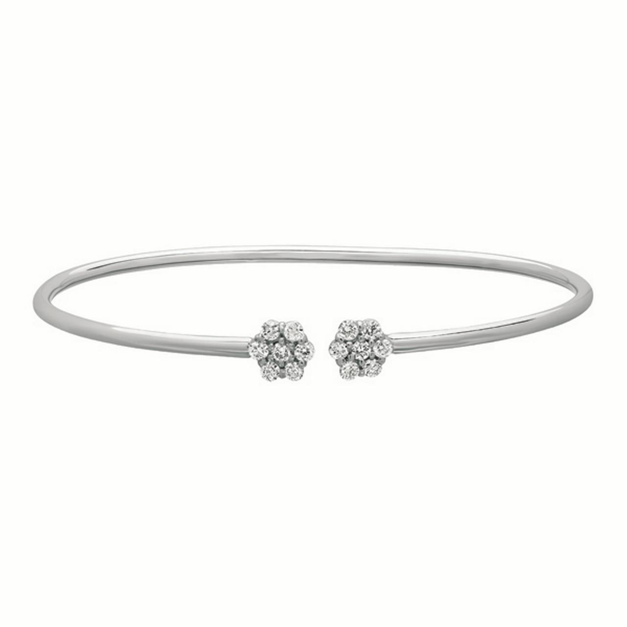 Diamond Jewelry, Cluster Flower Tip Cuff Bracelet, 14 Karat White Gold, Diamond 0.52 Carats, 7 Inches Around, Open Cuff... by Diamond Jewelry