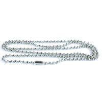 Ball Chain Dog Tag Necklace - 4 and 24 Inches Long - 2.4mm Bead Size - Matching Connector - Adjustable Metal Bead Chain - Multiple Pack Sizes - Black or Silver