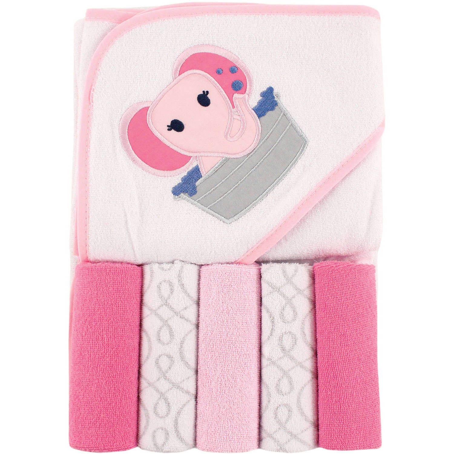 Luvable Friends Hooded Towel and 5 Washcloths, Pink Elephant