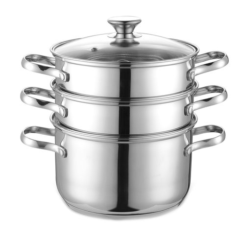 Cook N Home Double Boiler and Steamer Set, Stainless Steel