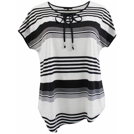 Plus Size Women Short Sleeve Asymmetric Stripes Knit Blouse Tee T Shirt Top Black White 1X