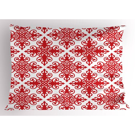 Red Pillow Sham Western Style Floral Scroll Motif Swirled Lines Antique Royal Ornament with Framework, Decorative Standard Size Printed Pillowcase, 26 X 20 Inches, Red White, by Ambesonne ()