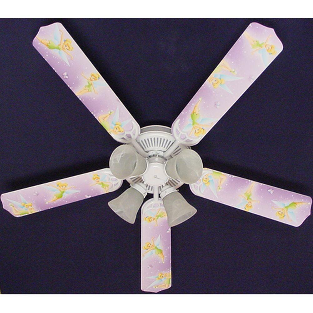 Ceiling Fan Designers Purple Disney Tinkerbelle Print Bla...