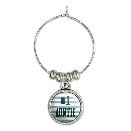 #1 Auntie Number One Favorite Wine Glass Charm Drink (Glasses Measurement Numbers)