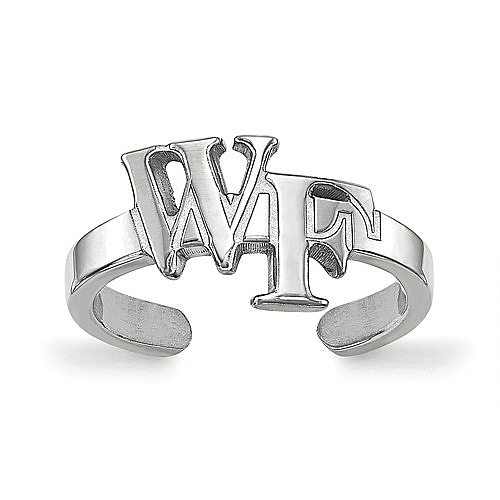 Wake Forest University Toe Ring in 925 Rhodium Flashed Silver