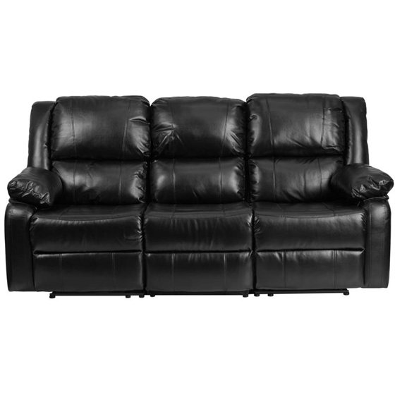Flash Furniture Harmony Series Black Leather Sofa with Two Built-In ...