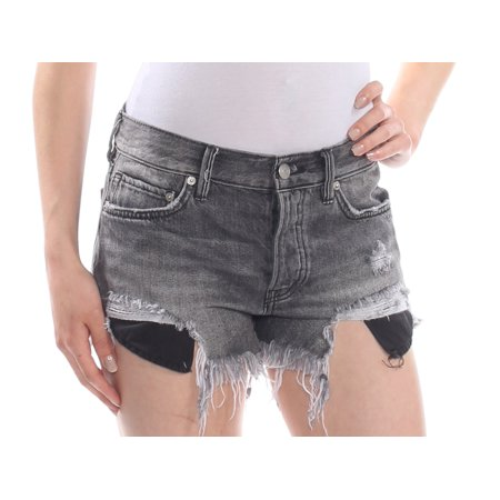Free People Womens Loving Good Vibrations Destroyed High Rise Denim Shorts