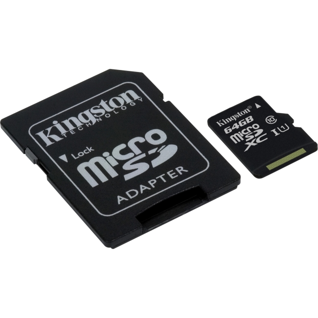 Kingston 64GB microSDXC Class 10 UHS-I 45MB/s Read Card with SD Adapter