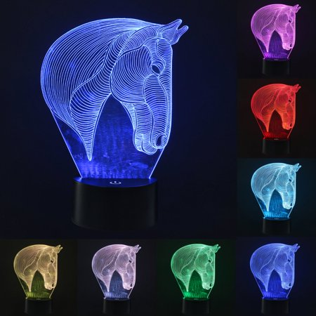 Moaere 3D Lamp Horse Led Illusion Light 3D Night Light USB Acrylic Colorful LED Table Desk Christmas Decoration Gift - Light Up Horse