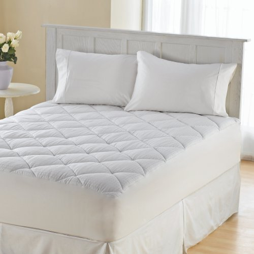 Dual Heated Mattress Pad Wellrest 300TC Sateen Box Cotton Flexwall Mattress Pad - Walmart.com