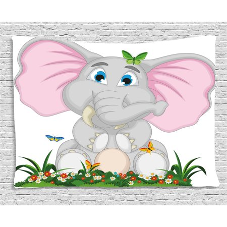 Butterfly Tapestry Wall Hanging - Elephant Nursery Decor Tapestry, Friendly Elephant Cartoon in Garden Daisies Butterflies Huge Ears, Wall Hanging for Bedroom Living Room Dorm Decor, 60W X 40L Inches, Multicolor, by Ambesonne