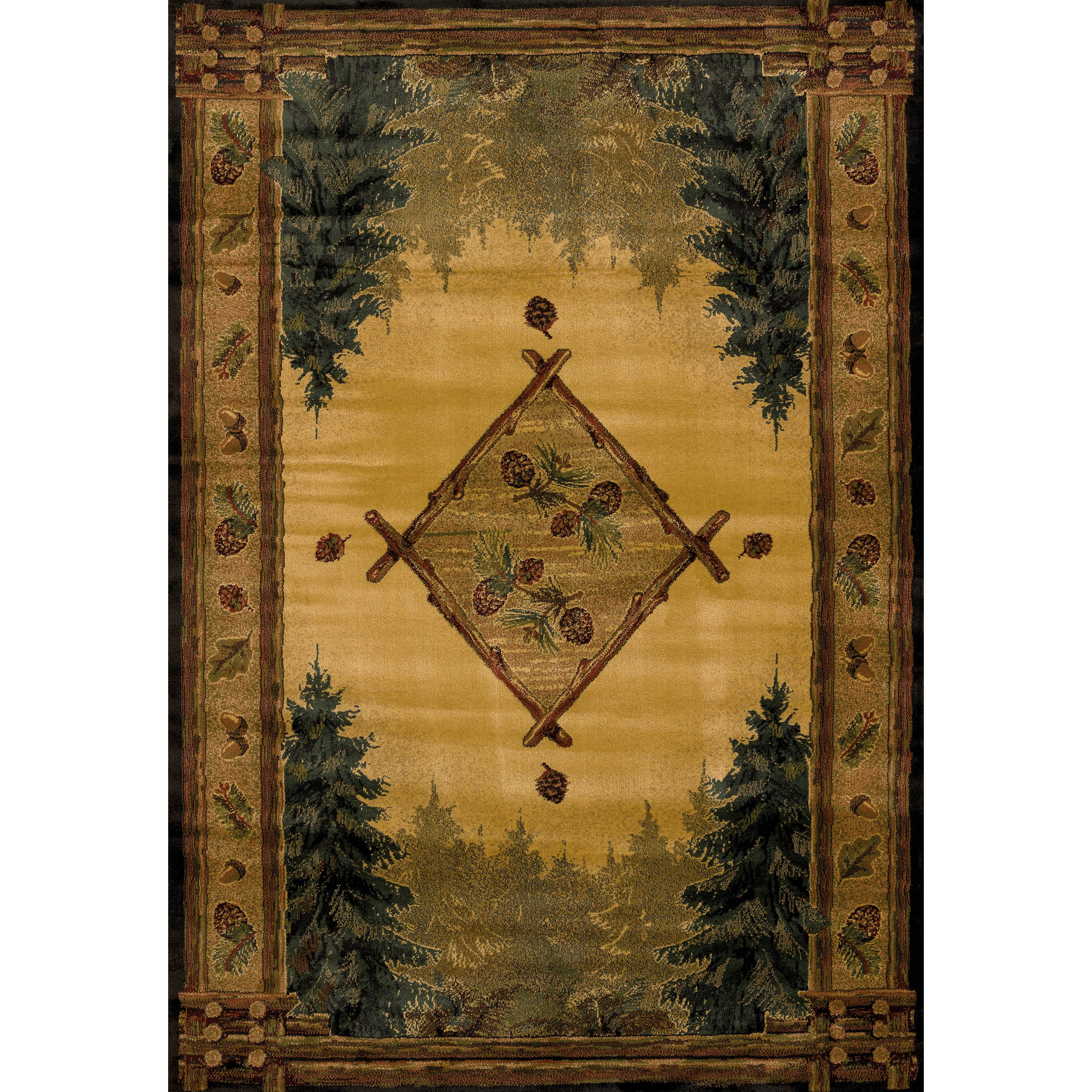 United Weavers Big Timber Pine Forest Lodge Woven Polypropylene Area Rug or Runner