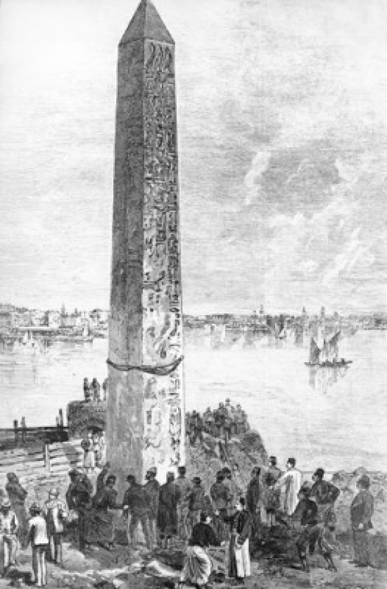 Cleopatras Obelisk in Alexandria Preparing to be Moved by unknown artist Poster Print by Superstock