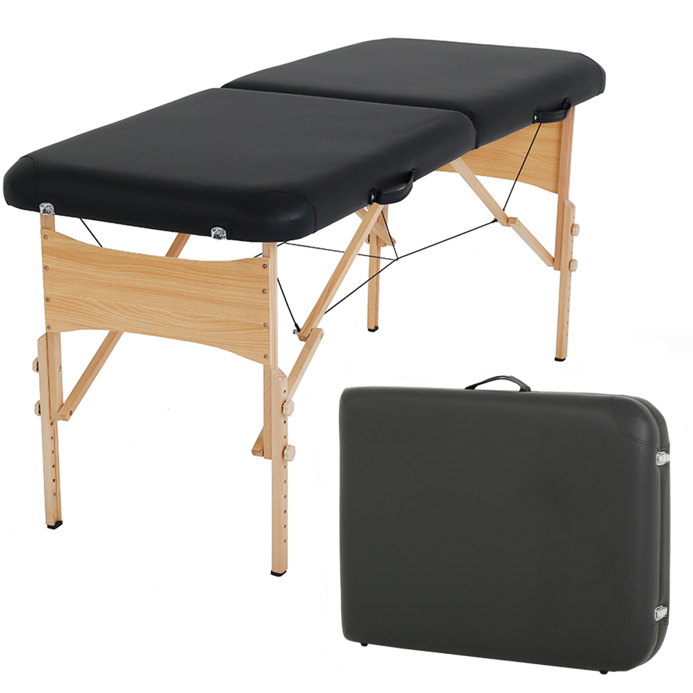 Massage Table Massage Bed Spa Bed 73 Inch Height Adjustable 2 Fold Massage Table W/ Carry Case Portable Salon Bed