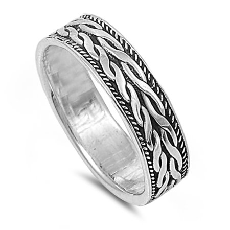 Men Women 925 Sterling Silver 6mm Oxidize Finish Braided Rope Design Spinner Ring