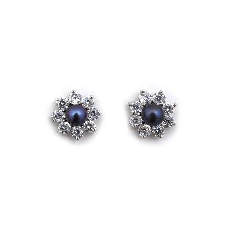 14k Yellow or White Gold AAA Dyed Black Freshwater Cultured Pearl Stud Earrings CZ Halo Earring Jackets