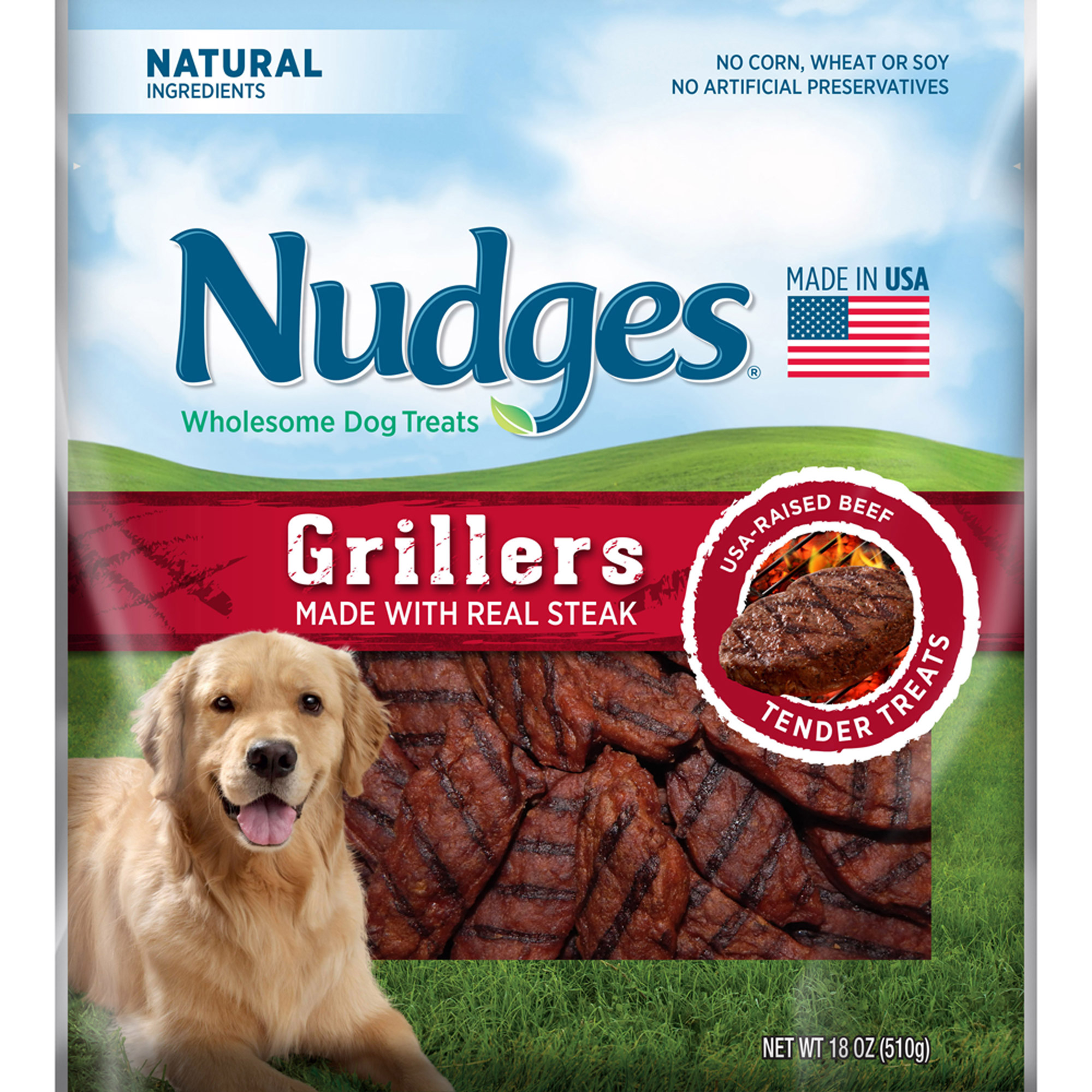 Nudges Steak Grillers Wholesome Dog Treats 18 oz. Bag