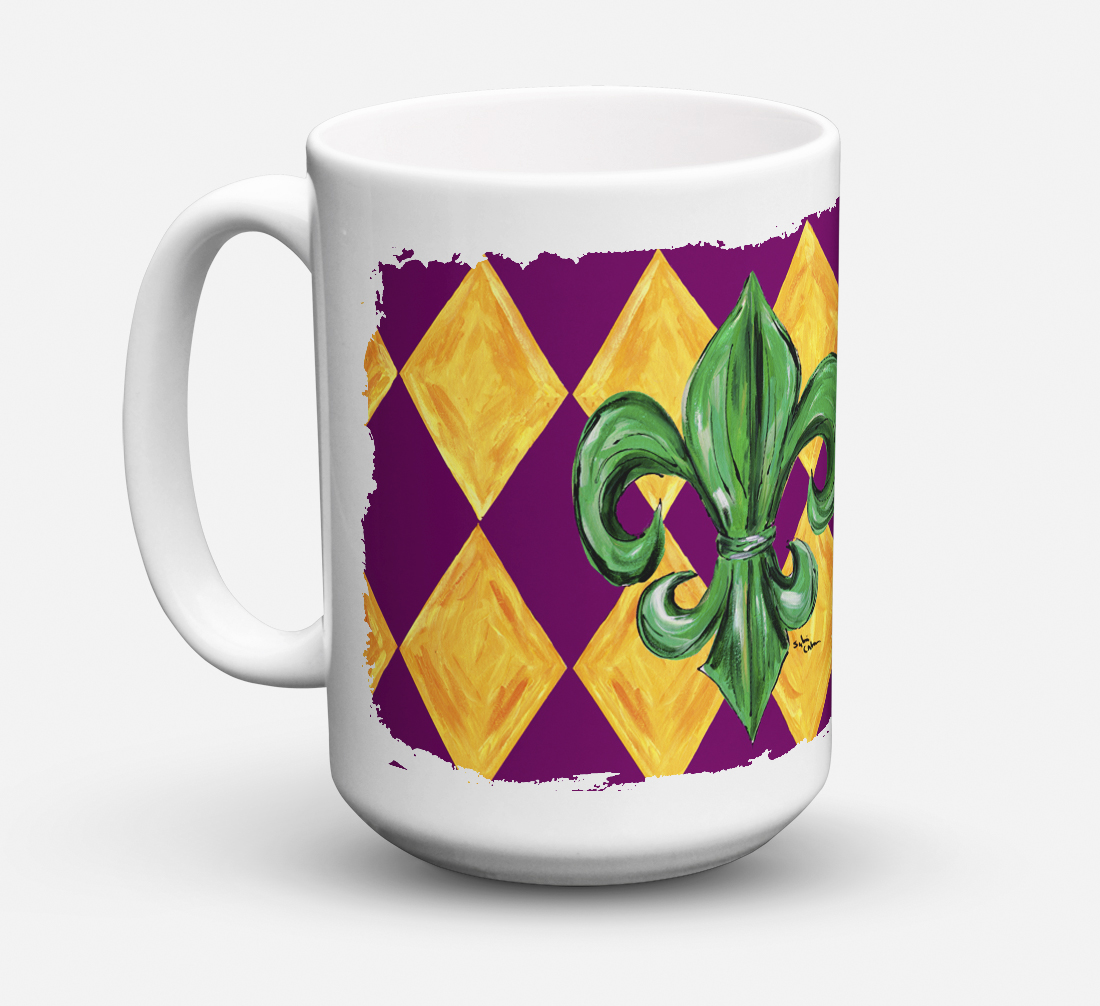 Mardi Gras Fleur de lis Purple Green and Gold Dishwasher Safe Microwavable Ceramic Coffee Mug 15 ounce 8133CM15