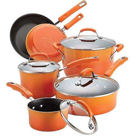 Rachael Ray 10-Piece Porcelain Enamel Non-Stick Cookware Set in Multiple Colors