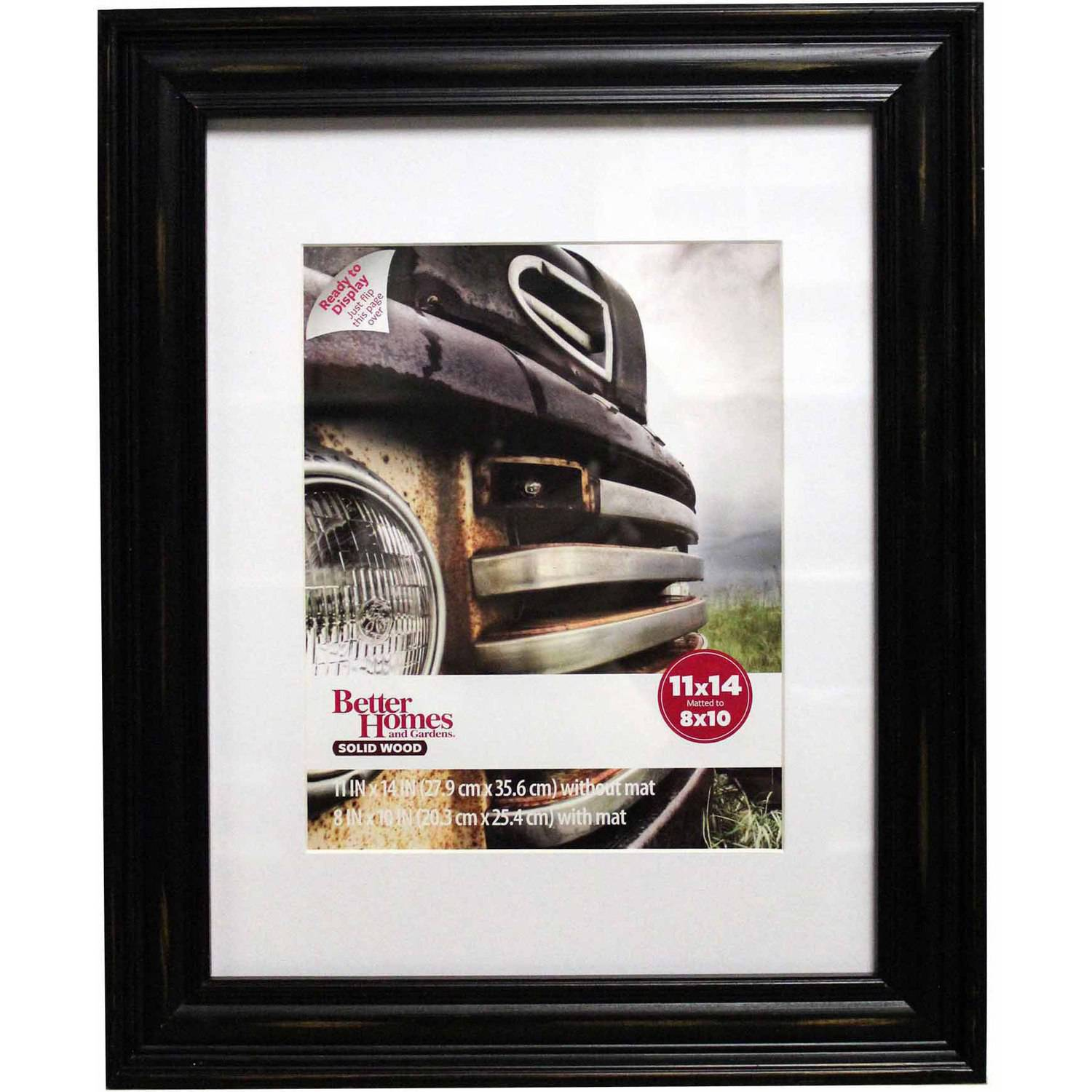 Better Homes and Gardens Distressed 11x14 Picture Frame, Black ...