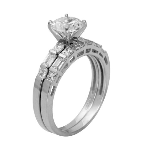 2.50 Ct 14K Real White Gold Round Cut with Princess and Baguette Bar Set Side Stones 4 Prong Cathedral Setting Engagement Wedding Propose Promise Ring with Matching Band Duo 2 Ring Set Princess Cut Tapered Baguettes