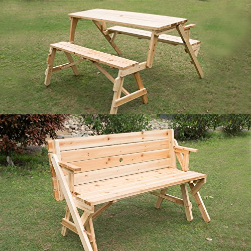 Superb Outsunny 2 In 1 Convertible Picnic Table U0026 Garden Bench