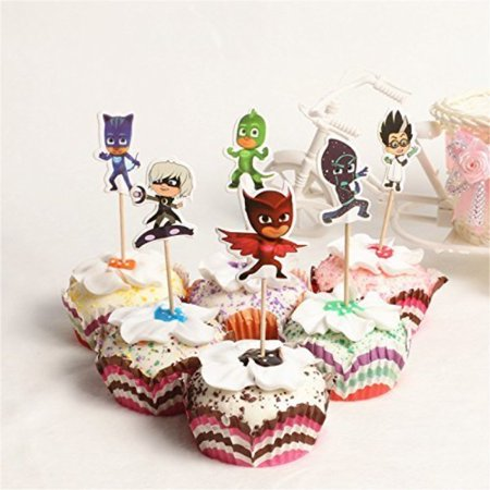 24Pc PJ Masks Kawaii Cool Hero Theme Party Supplies Cartoon Cupcake Toppers Pick Children Birthday Party Decoration Serve 24 for $<!---->