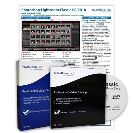 Learn Adobe Lightroom Classic CC DELUXE Training Tutorial Package Video Lessons, PDF Instruction Manuals, Printed and Laminated Quick Reference Guide, Testing Materials, and Certificate of Completion