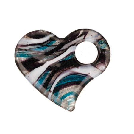 Italian Murano Glass Flower - Ripple Sand Design Blue Base Fancy Heart Lampwork Glass Pendant 49x42mm Handmade Murano Inner Flower And Lampwork Glass Pendant (3pcs Bundle), SAVE $2