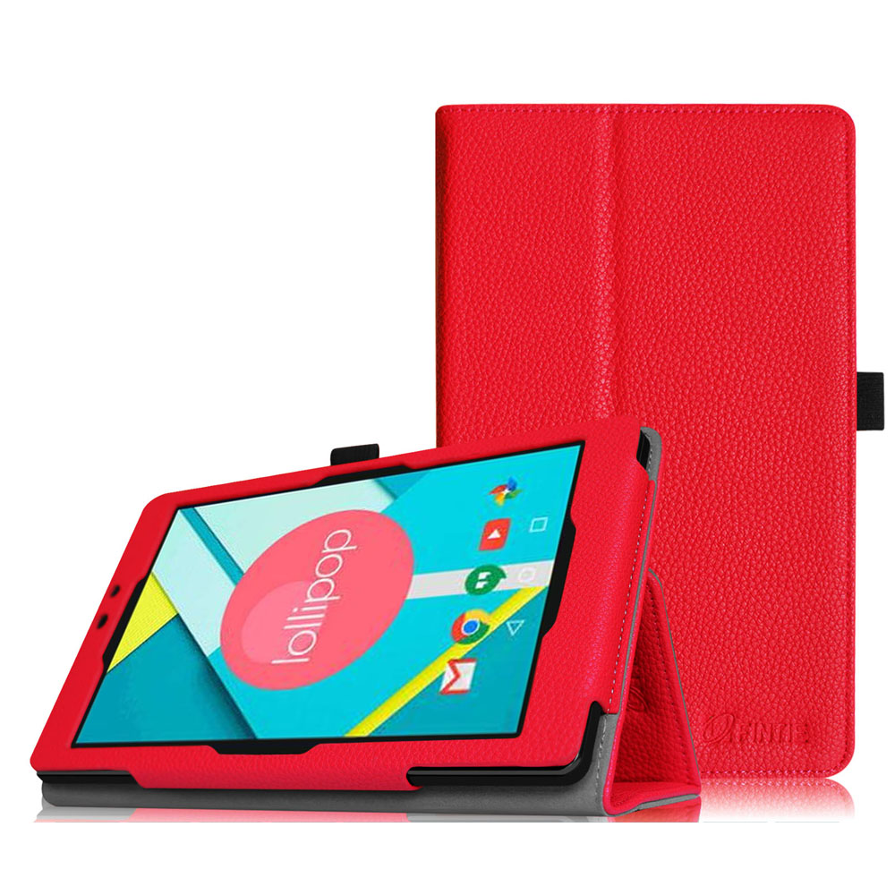 "Nextbook Ares 8"" Tablet case - Slim Fit Premium Vegan Leather Folio Case Cover with Stylus Holder, Red"