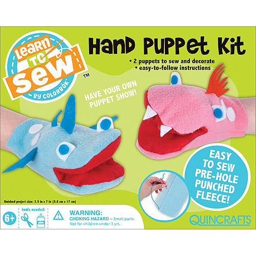 Quincrafts Learn to Sew: Hand Puppet Kit, 2pc