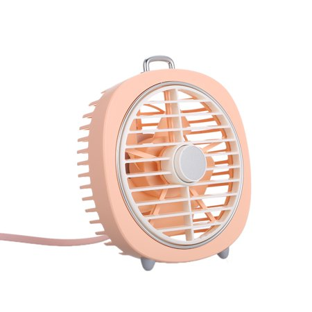 Mini USB Table Fan with Rotating Cover Mask 3 Speeds 180? Wind Direction and Adjustable Night Light Desktop Fan for Office Home - image 2 de 7