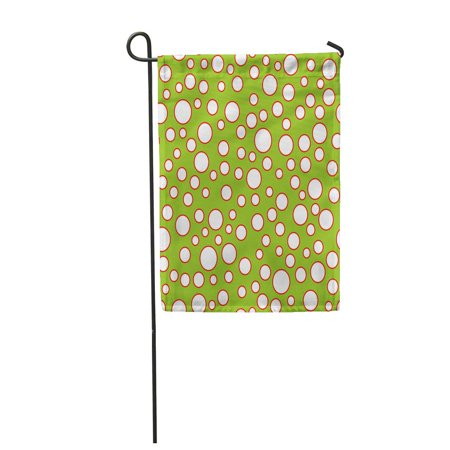 Bright Chartreuse Green (KDAGR Green Bright Tossed Circles Pattern Red Bubble Bubbly Celebrate Chartreuse Dot Garden Flag Decorative Flag House Banner 12x18 inch)
