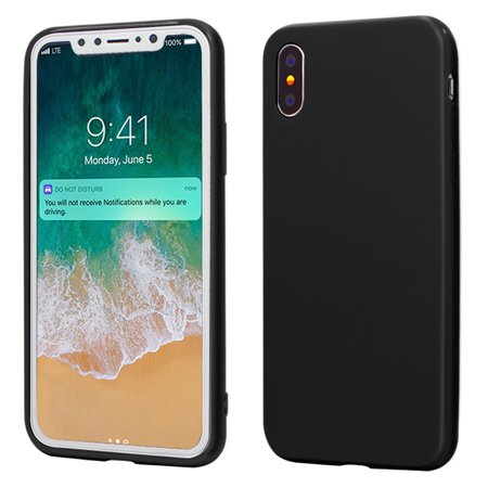 100% authentic 8fed3 ad204 iPhone X Case, ANLEY Candy Fusion Series - [Shock Absorption] Classic Jelly  Silicone Case Soft Cover for Apple iPhone X (Solid Black) + Free Ultra ...